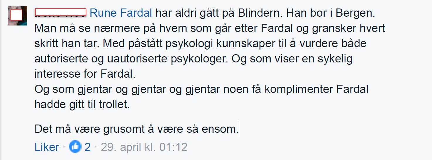 Irene Hov avviser at Rune Fardal har studert på Blindern