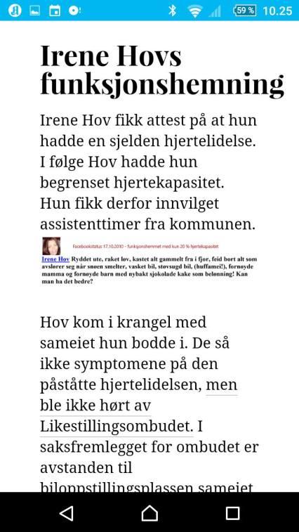 Irene Hovs hjertelidelse?