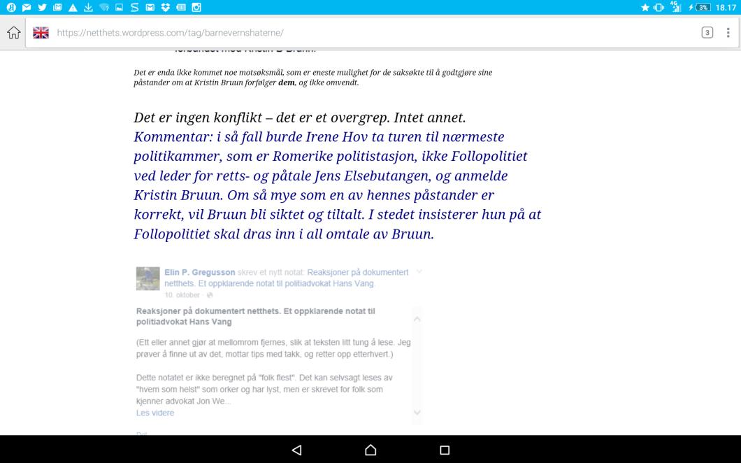Irene Hov skjermdumper avsløringen av årsak til å kontakte Jens Elsebutangen