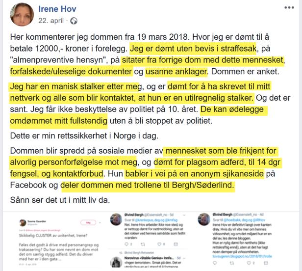 Irene Hov sjikanerer Bruun i strid med kontaktforbud
