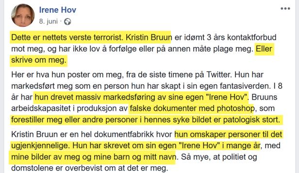 Irene Hov bryter kontaktforbud med omtale av Bruun 08.06.2018