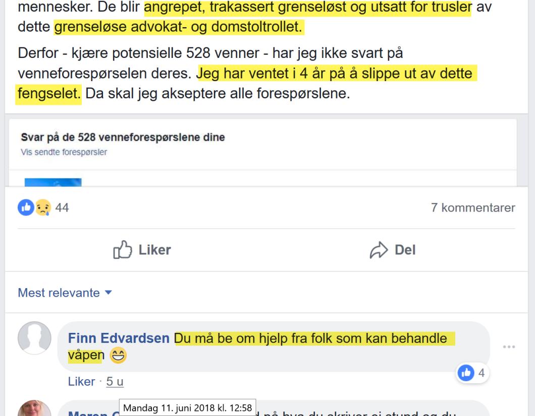 Irene Hov liker trusler mot Kristin Bruun: kontakte folk som kan behandle våpen