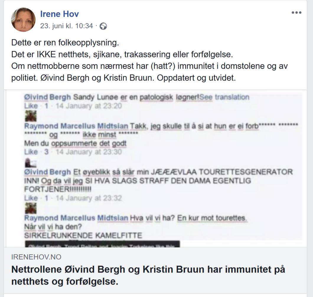 Irene Hov bryter besøksf-/kontaktforbud