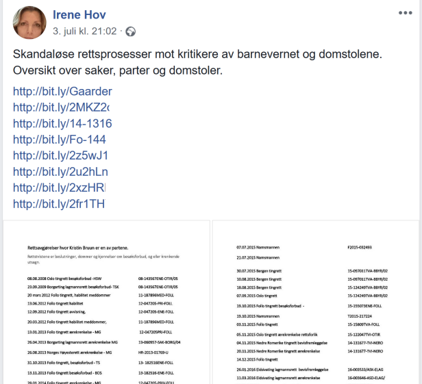 Irene Hov bryter besøksforbud/kontaktforbud 03.07.2018