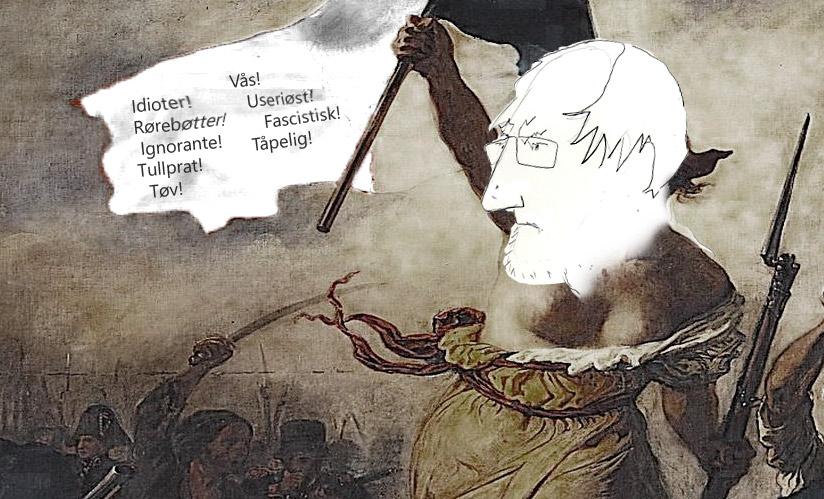 Lars Gule er en engasjert debattant, med en særegen stil. Tegning: Kristin B. Bruun