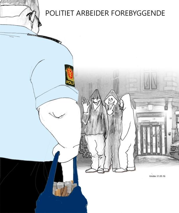 Politiet smuglet inn og omsatte 50 kilo hasj. Tegning: Kristin B. Bruun