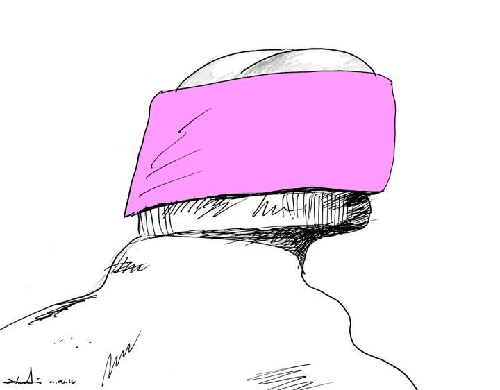 Thomas Knarvik med pannebånd. Illustrasjon: Kristin B. Bruun