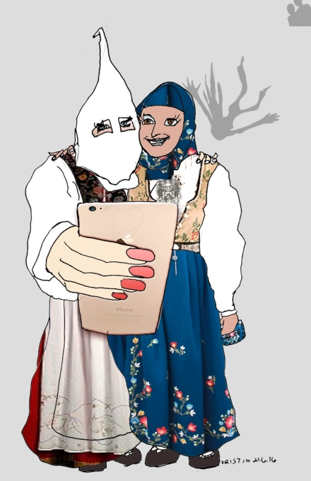 Hijab, bunad og balkongpiker. Tegning: Kristin Biesse Bruun, idé Mina Bai
