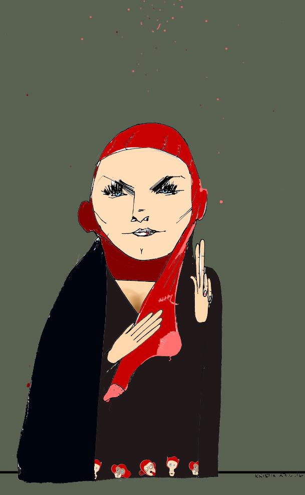 Martine Aurdal - feminist og hijabforkjemper. Tegning: Kristin B. Bruun