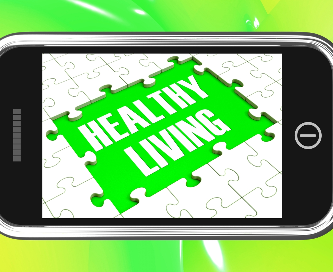 Healthy Living On Smartphone Showing Health Diet And Medical Care