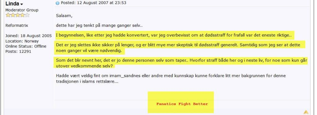 Linda Noor om dødsstraff for apostasi (frafall) i 2007