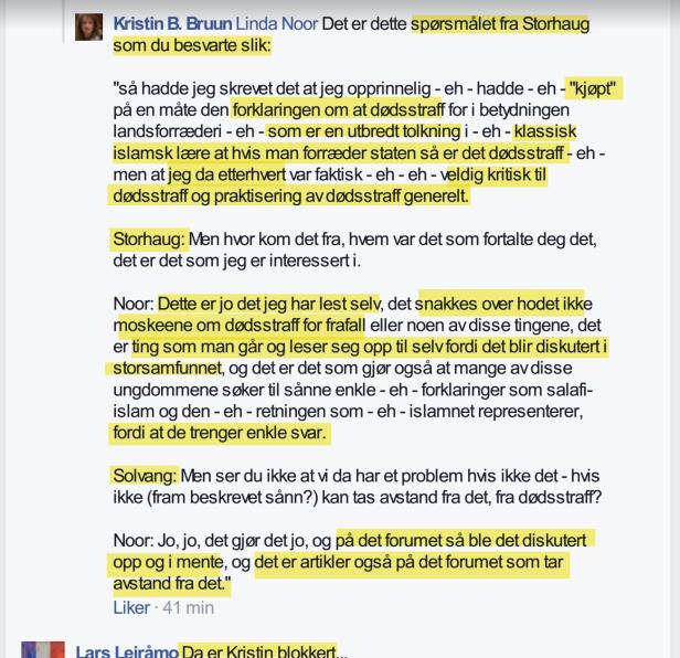 Linda Noor blokkerer Kristin Bruun for spørsmål om standpunkt vedr. apostasi