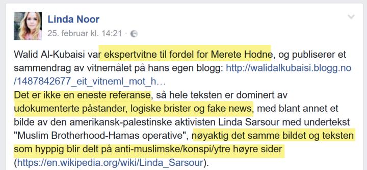 Linda Noor med sterke anklager mot Walid Al-Kubaisi på Facebook 25.02.2017