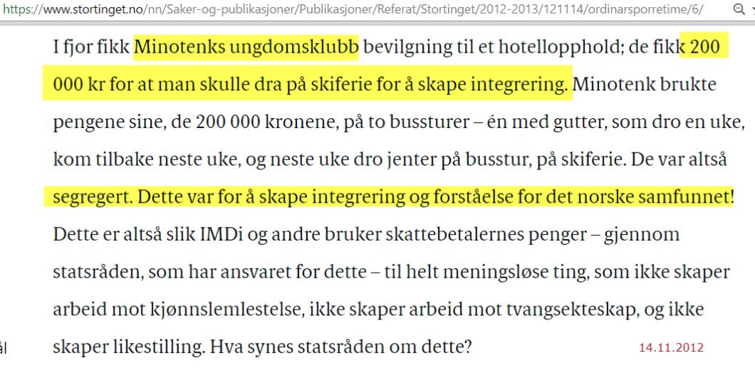 Tybring-Gjedde konfronterte statsråd Inga Marthe Thorkildsen med Minotenks segregering - 200.000 kr for kjønnssegregert ungdomstur for integrering