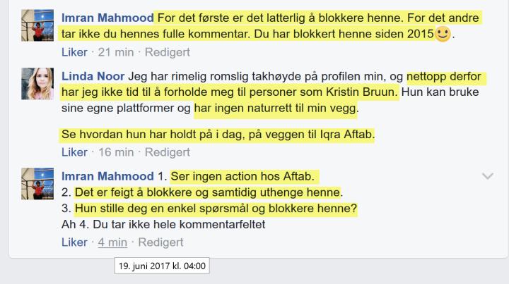 Linda Noor raser mot Bruun kl. 4 om morgenen