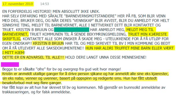 Irene Hov om Kristin Bruun og sin tidligere assistent 17.11.2010