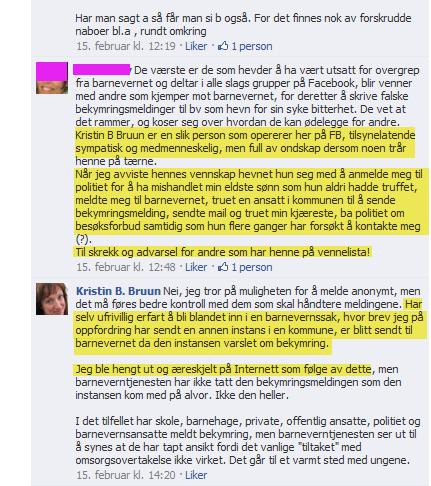 Irene Hov sjikanerer Bruun med usanne anklager hos Rune Fardal 15.02.2011