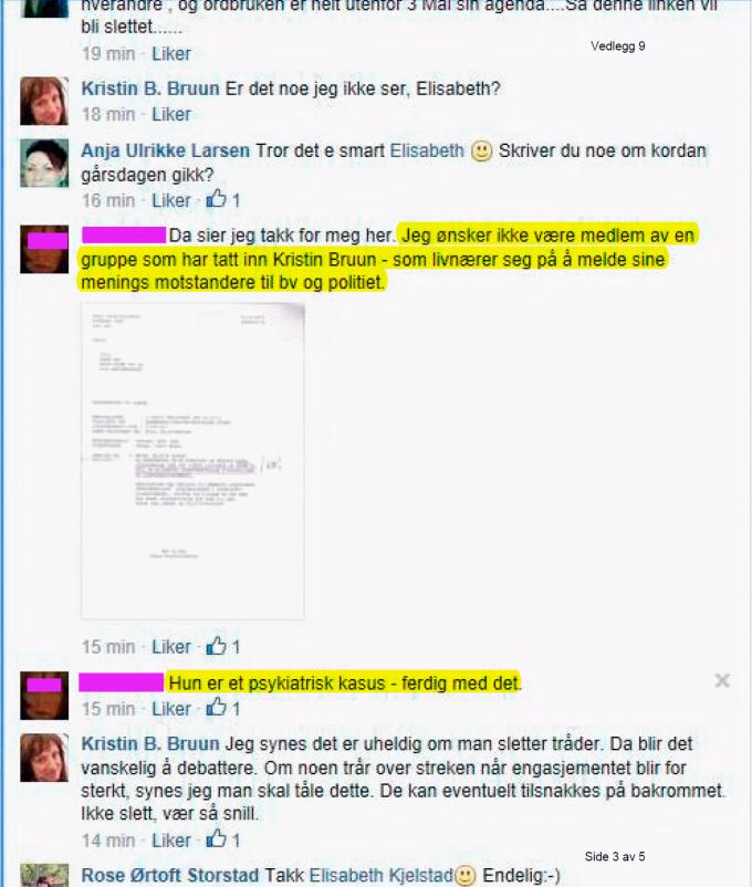 Irene Hov trakasserer Kristin Bruun 03.05.2014