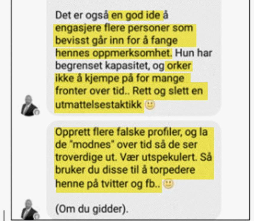 Irene Hov publiserer advokat Ole Andreas Thranas råd for å torpedere Kristin Bruun i sosiale medier 2014
