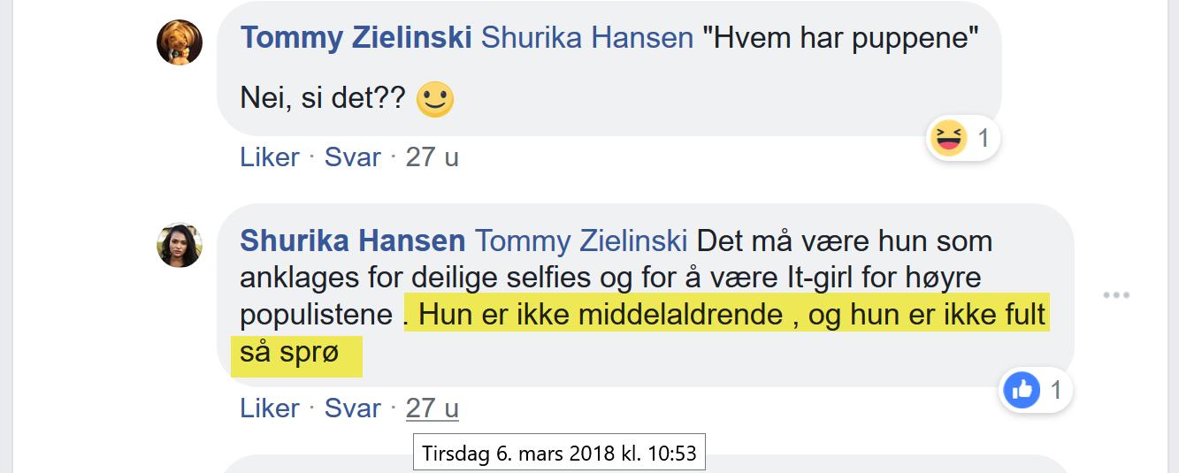 Shurika Hansen trakasserer Bruun