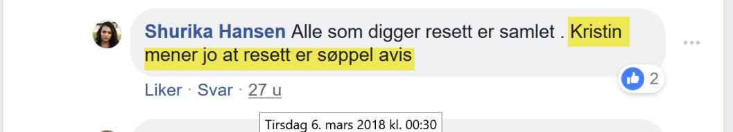 Shurika Hansen klager over at Kristin Bruun mener Resett er søppelavis