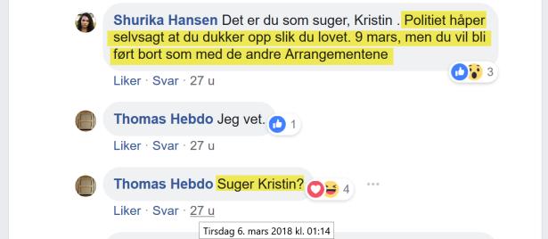 Shurika Hansen trakasserer Kristin Bruun fra bak blokkering
