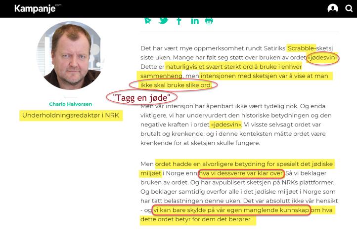 NRK Charlo Halvorsen erkjenner kunnskapsmangel